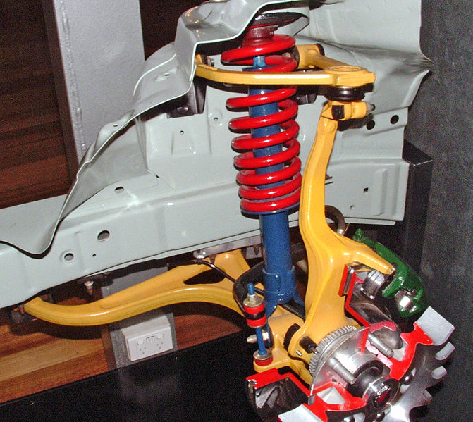 "This is NOT a strut suspension; the shock only has forces acting along its axis and in this pictured application also supports the helical ""aka coil"" spring."