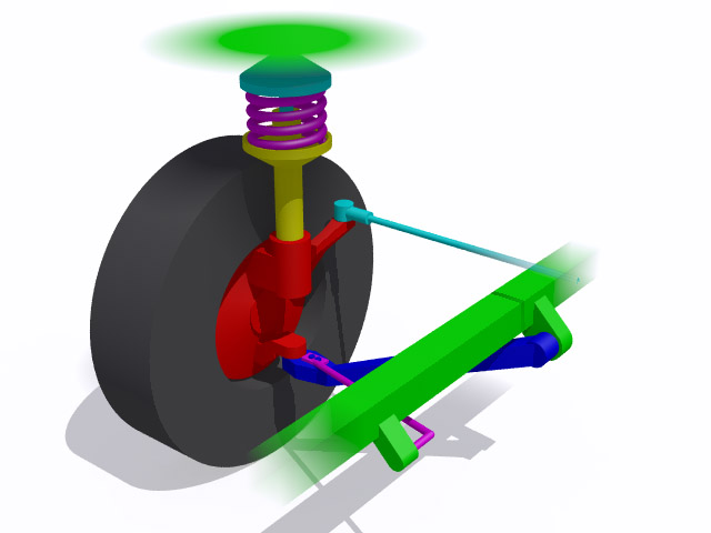 McPherson strut suspension, not only supports the suspension main spring and dampens wheel motion, it also locates the upper portion of the suspension system, eliminating the need for an upper control arm. Hence the strut must have strength in bending to support lateral loads.
